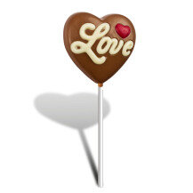 Lollipop 'Love' - Schokolade in Herz-Form