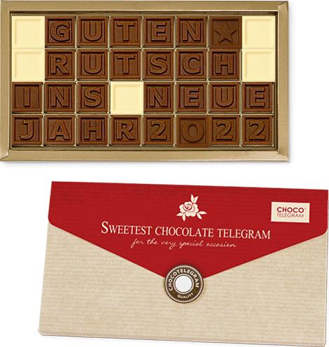 Schokolade Guten Rutsch ins Neue Jahr 2022 - Schokobotschaft zu Silvester