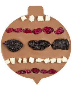 ChocoChristbaumkugel mit Pflaumen, Äpfeln, Cranberries