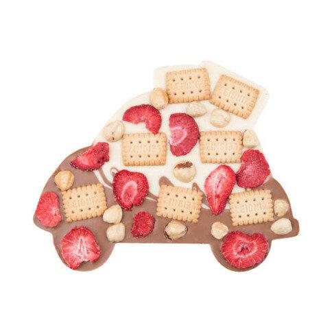 ChocoAuto Duett mit Keksen, Erdbeeren, Haselnüssen