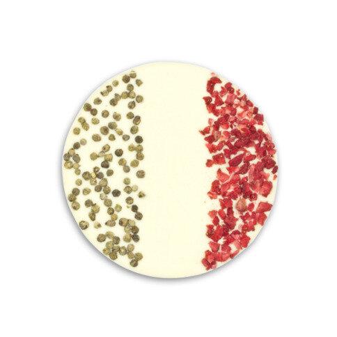 ChocoBall 'Italien' mit grünem Pfeffer, Erdbeeren