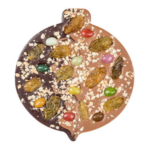 ChocoChristbaumkugel Duett mit Jelly Beans, Rosinen, Erdnüssen