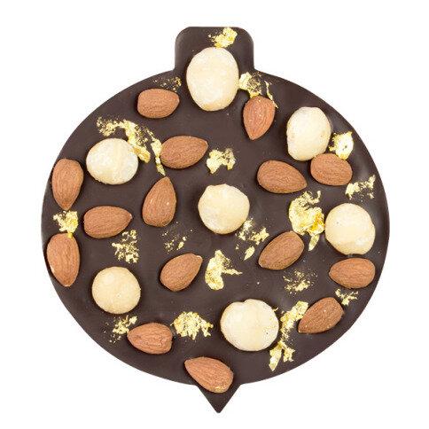 ChocoChristbaumkugel mit Macadamianüssen, Mandeln, Blattgold