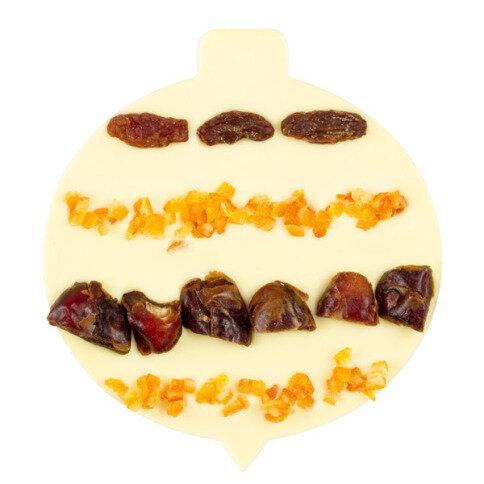 ChocoChristbaumkugel mit Rosinen, Datteln, Orange