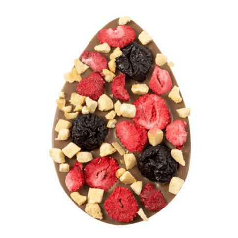 ChocoEi mit Pflaumen, Aprikosen, Erdbeeren