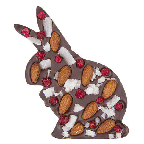 ChocoHase mit Mandeln, Kokos, Johannisbeeren