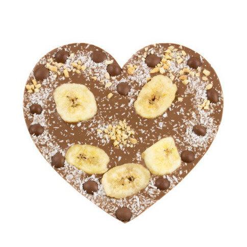 ChocoHerz mit Banane, Mandelblättern, Kokos, Schokodrops