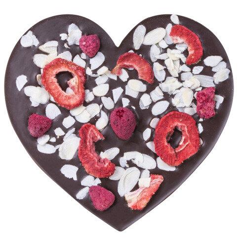 Chocolissimo ChocoHerz mit Erdbeeren, Mandeln, Himbeeren - Bestreute Schokoladentafel