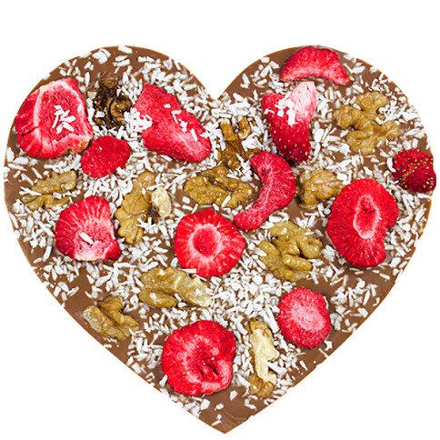 ChocoHerz mit Walnüssen, Erdbeeren, Kokos
