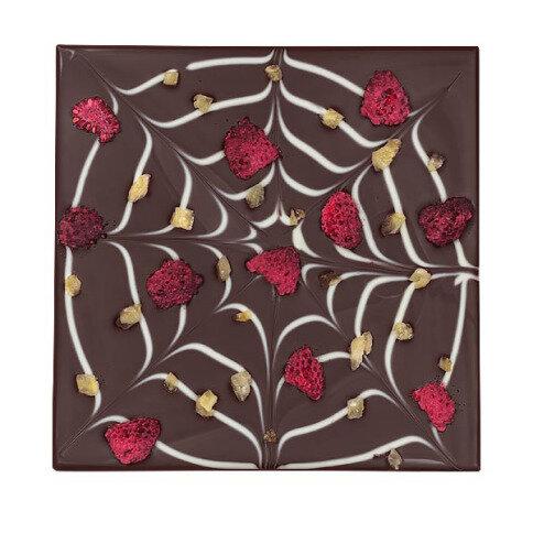 ChocoQuadrat 'Spinnennetz' mit Ingwer, Himbeeren