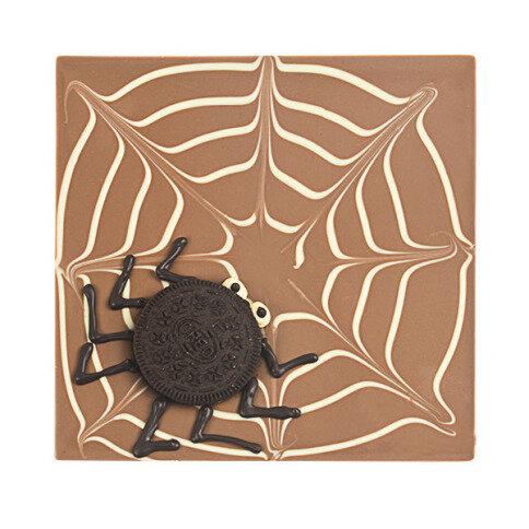 ChocoQuadrat 'Spinnennetz' mit 'Keks Spinne'