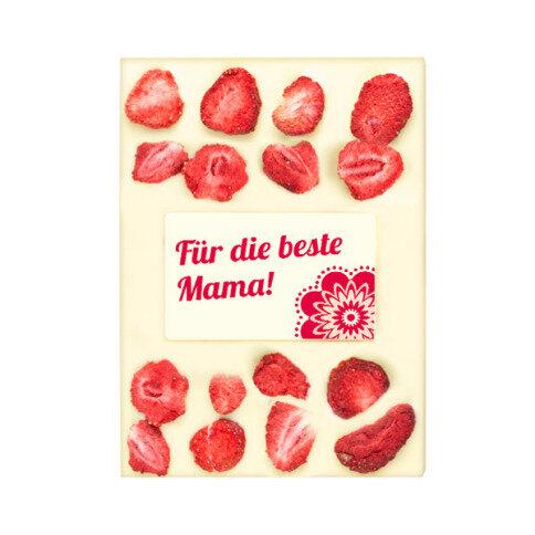 ChocoRechteck 'Mama' mit Erdbeeren