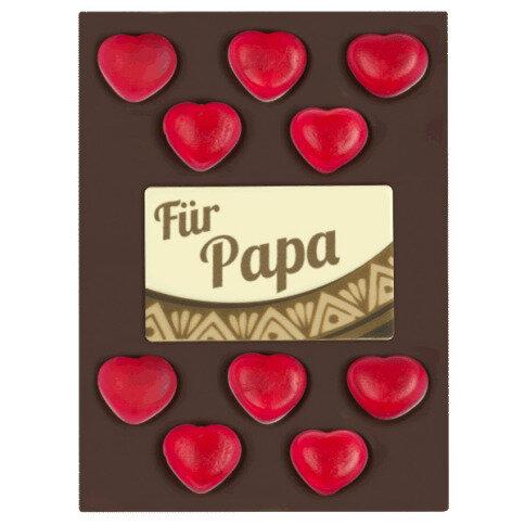 ChocoRechteck 'Papa' mit Gummiherzen