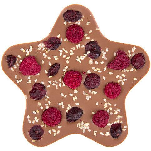 ChocoStern mit Himbeeren, Cranberries, Sesam