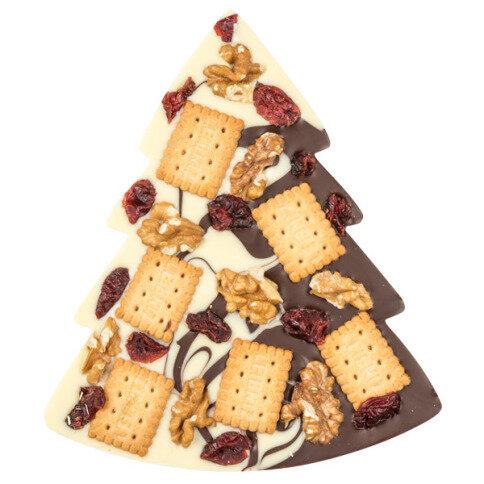 ChocoTannenbaum Duett mit Walnüssen, Cranberries, Keksen