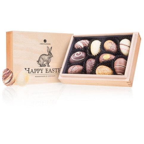 Chocolissimo Easter Premiere Mini - 14 handgefertigte Pralinen im Holzkästchen, Ostergeschenk, Ostern Schokolade