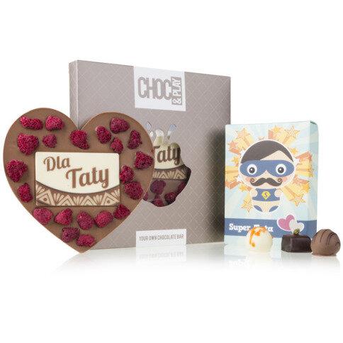 Schokoladenherz mit Himbeern Super Dad Pralinen