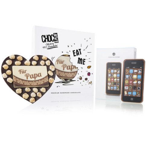 Chocolissimo Nuss-Herz & ChocoSmartphone - Herztafel und Smartphone aus Schokolade