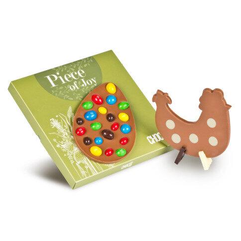 Chocolissimo Osterei mit M&Ms & Easter Chicken  - Osterei-Schokoladentafel und Schoko-Huhn