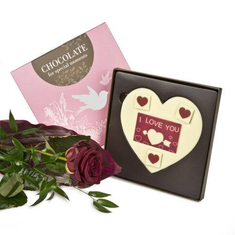 Rote Rose 'I love you' Schokoladentafel