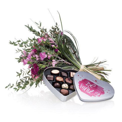 Set 'Be Mine' Pralinen und Blumenstrauß
