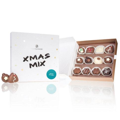 Schokolade Xmas Mix 'Sterne' - 12 weihnachtliche Pralinen