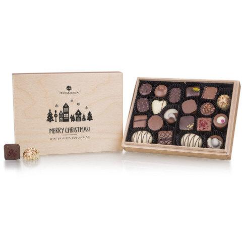 Schokolade Xmas Premiere Midi - ohne Alkohol - 20 alkoholfreie Pralinen im Holzkästchen