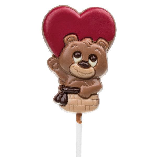Lollipop Bärchen Im Herz Ballon   Schokoladen Lolli Zu Valentinstag